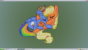 Applejack and Rainbow Dash Pixel Art by Djole123