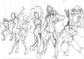 Mass Effect Wedding Reception (rough sketch) by SimplyErika