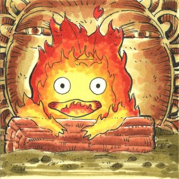 Calcifer - Copic Marker Postit Sketch by WillPetrey