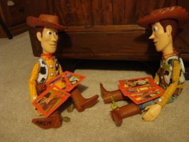 Woody playing cards with himself by spidyphan2
