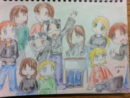 Me and my friends! Lucky star style! by OrigamiSushiPanda
