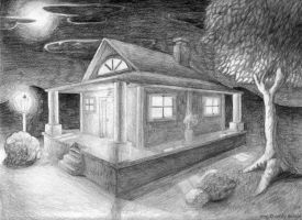 Cabin at Night by fuzzybudgie
