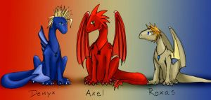 Demyx, Axel, and Roxas by FeatheredDragon