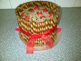 Choc Mousse.strawberries.capuccino Wafers Cake by Lucrecia1511