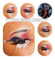 Harley Quinn Eye makeup by MzChrisCreatez