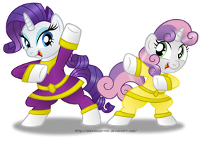 Commission:  Rarity and Sweetie Power Rangers by AleximusPrime