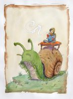 High upon a snail she rides.. by Leithwalton