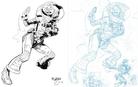 Inks: Space Chick by Fegredo by JimCampbell