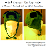 Sad Creeper Earflap Hat by Stitch-Happy