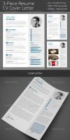 3-Piece Resume CV Cover Letter by carlosnance