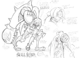 Skullbuster Sketches + Full Profile by ReluctantZombie