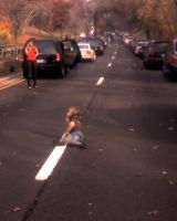 Little Girl Drawing on Highway by mhalpert