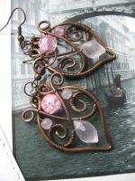 Wire Wrapped Copper Leaf Filigree Earrings by Lirimaer86
