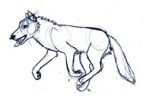 Running Wolf Sketch by hinata8D