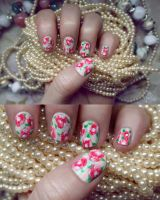 Vintage Rose Wallpaper Nails by psychoren