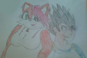 Cherry Fox and Vegeta by WhippetWild