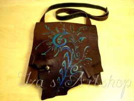 Brown messenger bag with a floral design by izasartshop