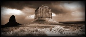 Merrick Butte and Mitten Sepia by Karl-B
