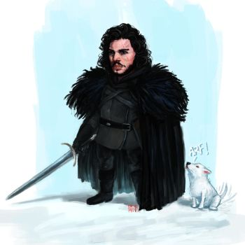 Jon Snow and Ghost by Guree
