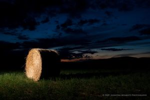 Hay Bale at Night by inessentialstuff