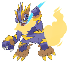 Collaboration Fakemon Zeustrike by Phatmon66