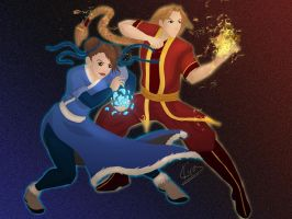 Chun Li and Vega as Water and Fire Benders by KiraTheArtist