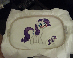 Giant Rarity Embroidery Test by EthePony