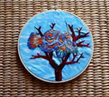 Hand Embroidered Mandarin Goby Hoop by Throughawolfseyes