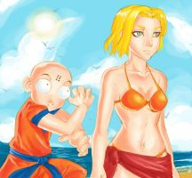 Android 18 Beach by dreamwatcher7