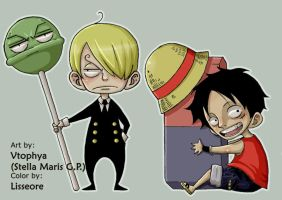 Sanji and Luffy-Collaboration- by lisseore