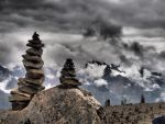 The view in the Alps. Cones with stones. by BW-Neelly