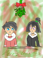 Danny and Sam Under Mistletoe by DeannaPhantom13