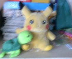 Pikachu and a turtle by MikariStar