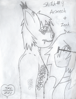 Sketch 9 - Arimech....and Zeah by Zeah1Renee5Voinovich