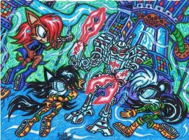 .:Art Trade:.Aqua-Freedom-Fight Against Egg Ripper by AceOfSpeed94