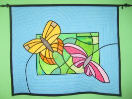 Butterfly Stained Glass Quilt by ElsFiberArts