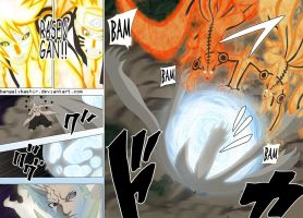 Naruto Chapter 645 Page 10-11 kurama mode by bangalybashir