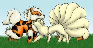 Arcanine and Ninetails by MaidenOfTheBlade