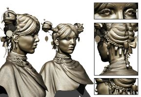 The Successor Zbrush Sculpt hair detail by smallsketch