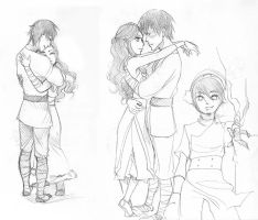 Zutara hugs sketches by yume-darling