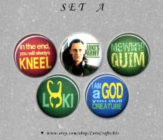 Loki 1-inch Buttons (SET A) by MyFebronia