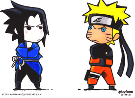 Sasuke vs. Naruto by monixxoxo