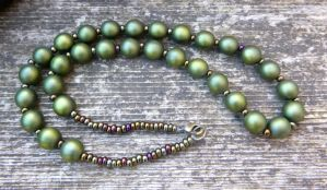 Green Faux Pearl Necklace by Lost-in-the-day