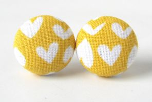Yellow heart earrings by KooKooCraft