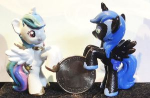Nightmare Moon and Celestia blind bag by stripeybelly