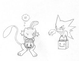 Mew goes Trick-or-treating by sunnyfish