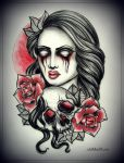 GIRL with SKULL tattoo design by MWeiss-Art