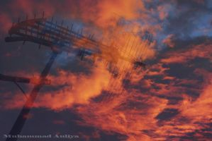 antenna and sky burned by aushoot