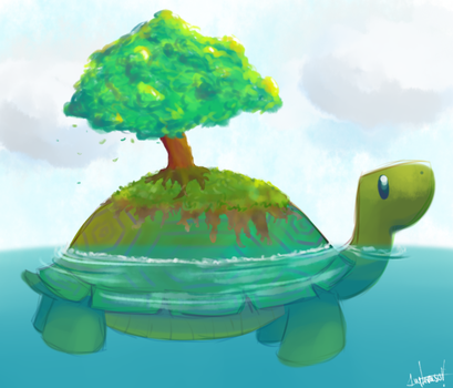 giant turtle or little tree? by ivyterasu
