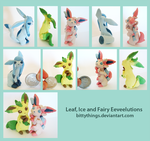 Eevees - Leaf, Ice and Fairy by Bittythings
